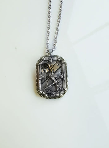 Steampunk Timepieces Rectangle Art Deco Frame Pendant with Dragonfly