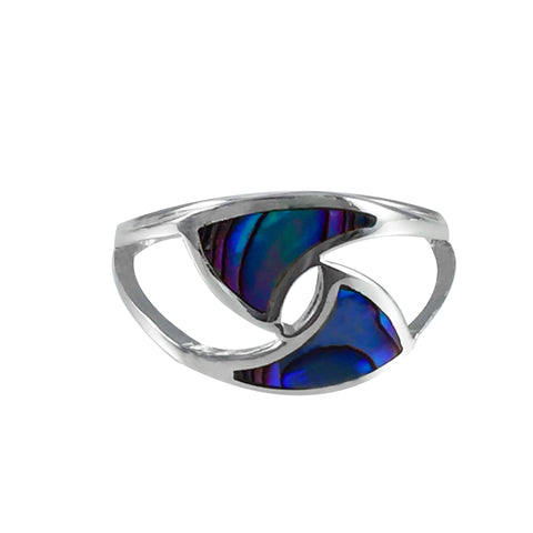 Sterling Silver Ring - Entwined Sails Paua open band