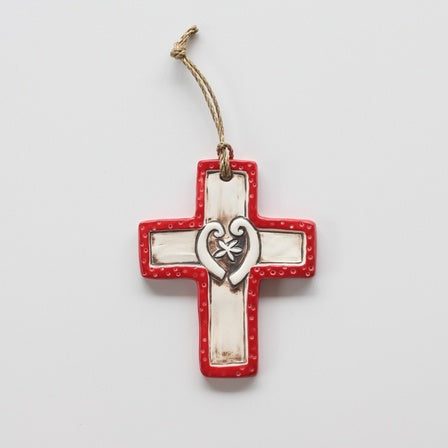 Ceramic Cross With Fern Fronds Red
