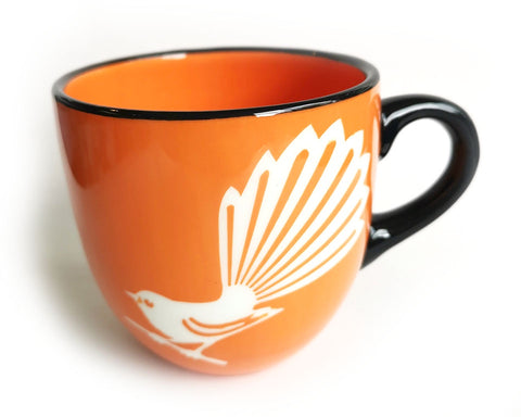 Orange Fantail Ceramic Mug Painted Pacific pottery NZ Made