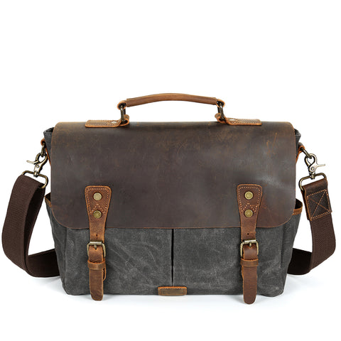 Waterproof Canvas Leather Satchel Bag - Dark Grey