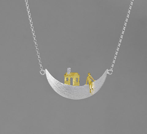 Moon Home Necklace - Sterling Silver