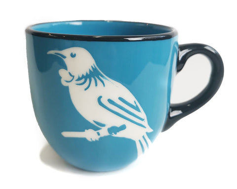 Blue Tui Mug Painted Pacific Pottery NZ Made