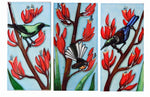NZ Birds on Flax 3 Ceramic Tiles