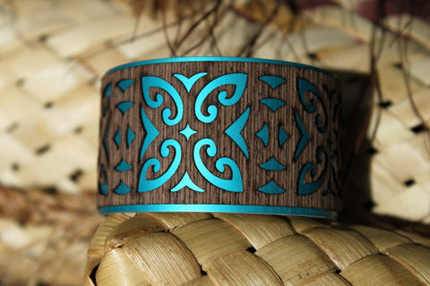 Aluminium Wood Veneer Wide Cuffs Tribal