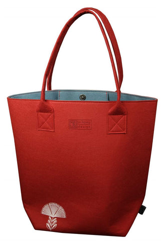 Pohutukawa red& teal Shoulder Tote