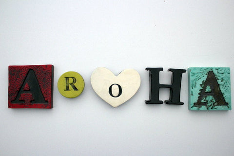 Ceramics letters - Aroha tile set of 5