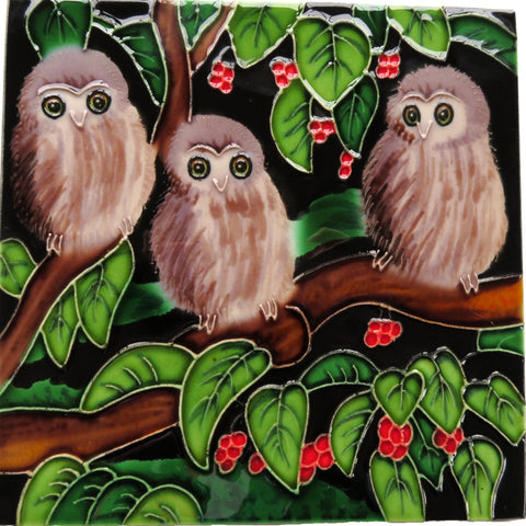 Morepork Chicks in a Puriri tree Ceramic Tile Wall Art 15x15cm
