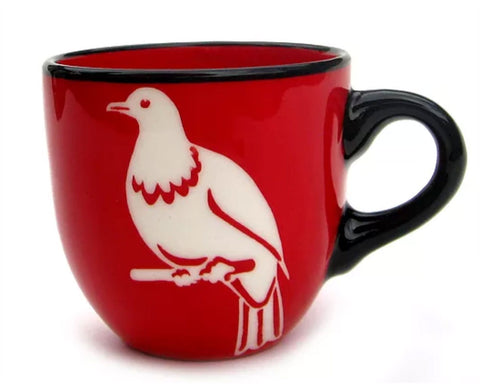 Red Kereru Ceramic Mug NZ Made Painted Pacific Pottery