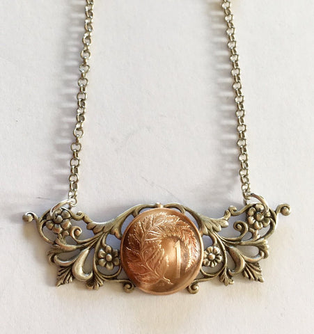 Re-minted one cent floral swag necklace