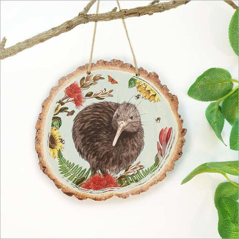Wood Slice Art - Floral NZ Bird Kiwi