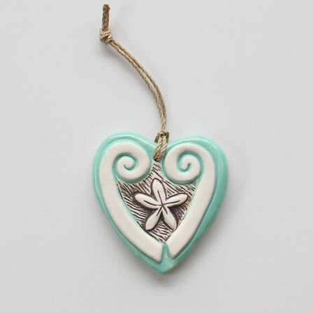 Ceramic Pacific Koru Heart Mint