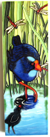Blue Pukeko Long Ceramic Tile