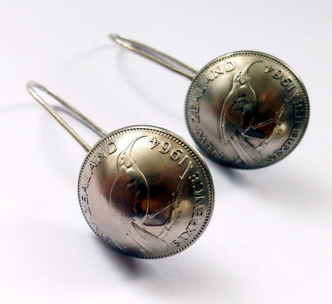 Re-minted Artisan Sterling Silver Hook Earrings - Sixpence