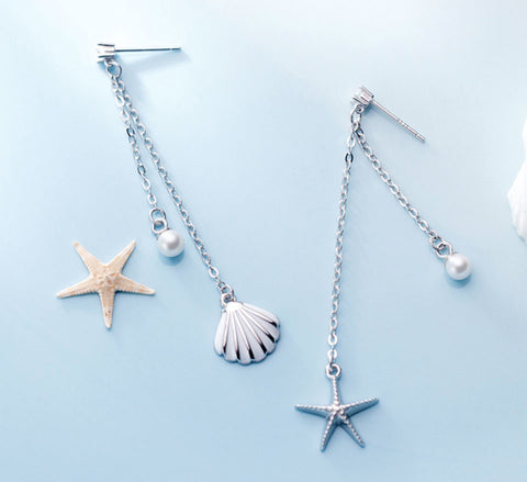 Sterling Silver Earrings - Uneven Long Starfish & Shell