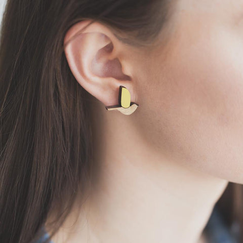Kereru  Earrings - Yellow