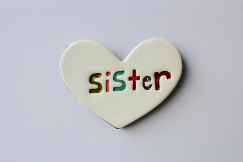 Ceramic Floating Heart Tile - Sister