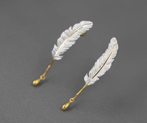 Sterling Silver Earrings - Feather Drop