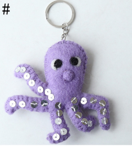 Wool Felt Craft Keyring  Octopus