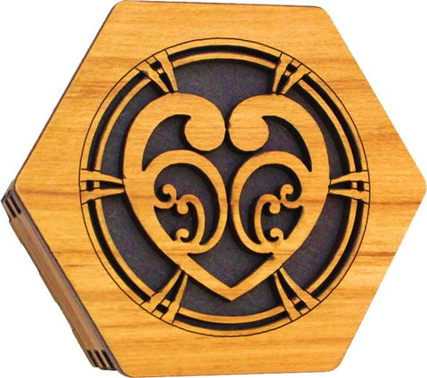 Rimu Hexagonal Box - Koru Heart