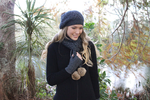 Merino Cable Scarf with Fur Pompom