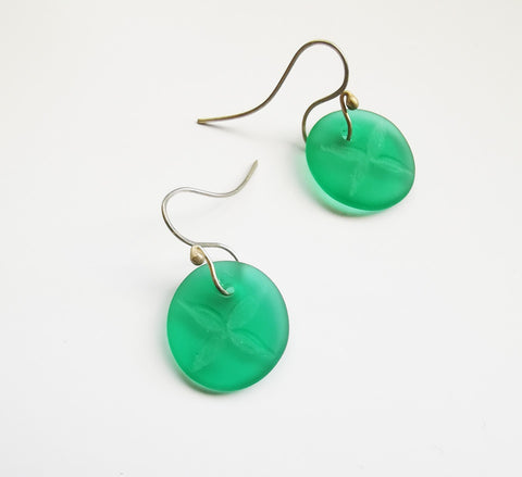 Glass Earrings – Tapa Flower Design Teal