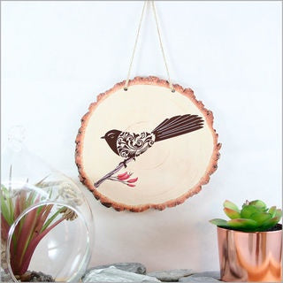 Wood Slice Art - Filigree Fantail