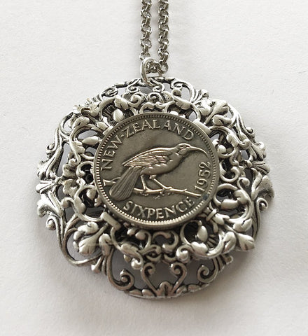 Re-minted Sixpence Layered Floral Circle Pendant