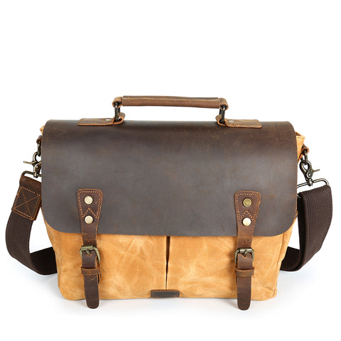 Waterproof Canvas Leather Satchel Bag - Khaki