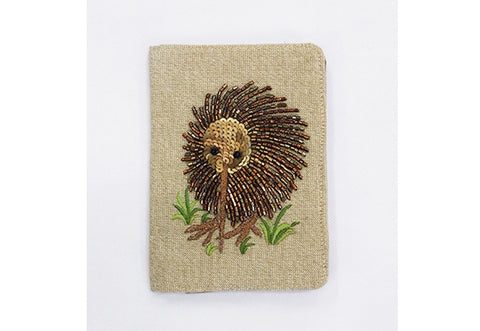Passport Holder - Beaded Kiwi on Lurex Linen