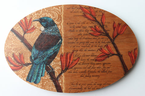 Tui Oval Plywood Wall Art