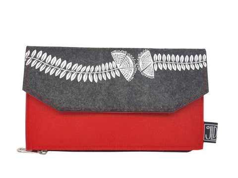 Pohutukawa Grey & Red Ecofelt Wallet
