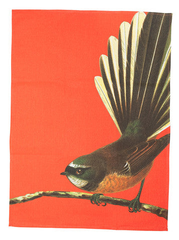 Bright NZ Fantail - Tea Towel