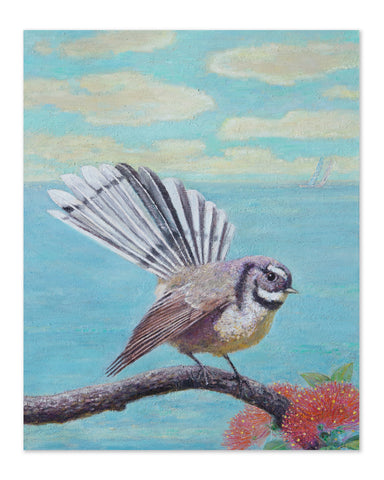 New Zealand Chitchat - Fantail Original Oil Painting