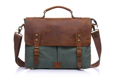 Canvas Leather Satchel Bag - Mocha
