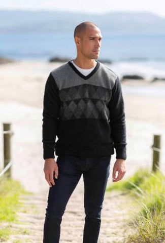 Merino Possum Textured Diamond Jumper
