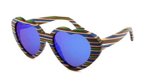 Wooden Sunglasses - Green Heart