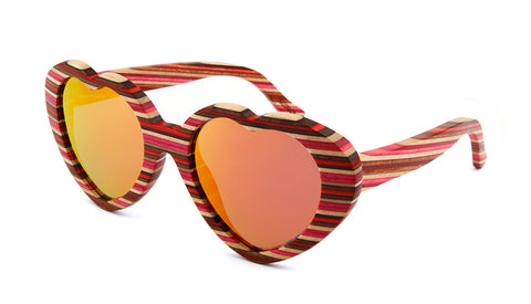 Wooden Sunglasses - Red Heart