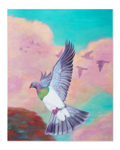 Flying Kereru - Original Oil Painting