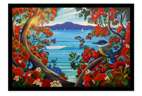 Boxed Frame S - Rangitoto Island View 2
