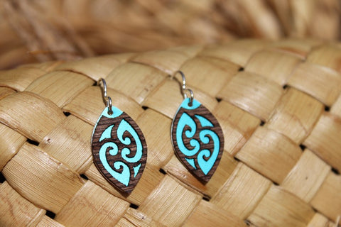 Oval Laser Cut Wood Veneer Earrings - Tribal