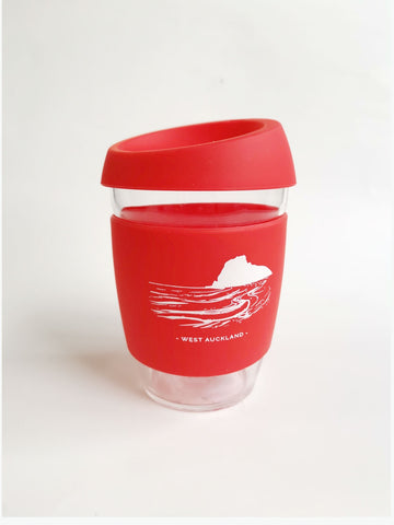 Reusable Glass Cup - Red