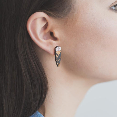 Wooden Huia Feather Earrings