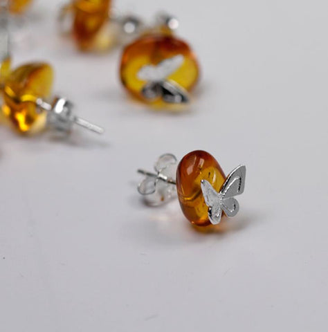 Sterling Silver Earrings - Butterfly on Natural Amber