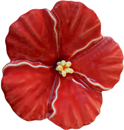 Wall Flower Ceramic Hibiscus Medium Red