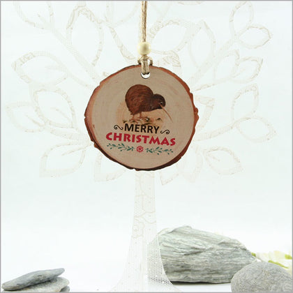 Wood Slice Hanging Ornament - Kiwi with Xmas