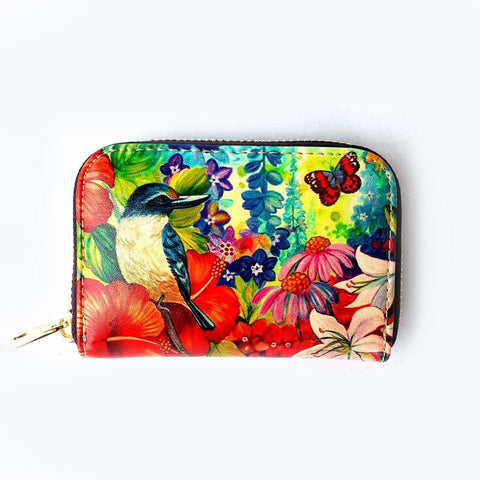 Kingfisher Hibiscus Leather Cardholder