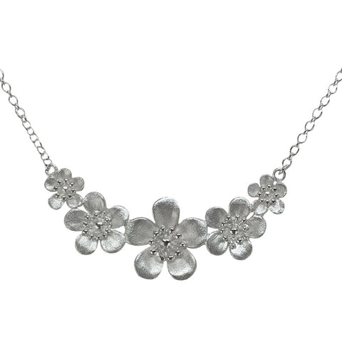 Sterling Silver Manuka Flower Matt Crescent Necklace