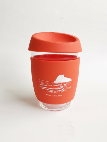 Reusable Glass Cup - Orange