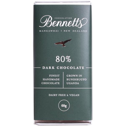 80% Dark Chocolate Bar Bennetts Chocolate